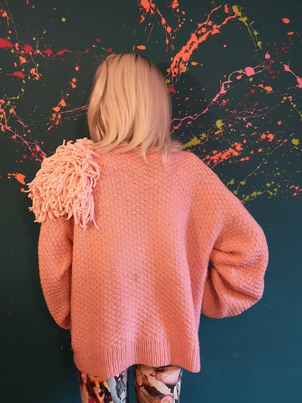 pink tassel shoulder jumper
