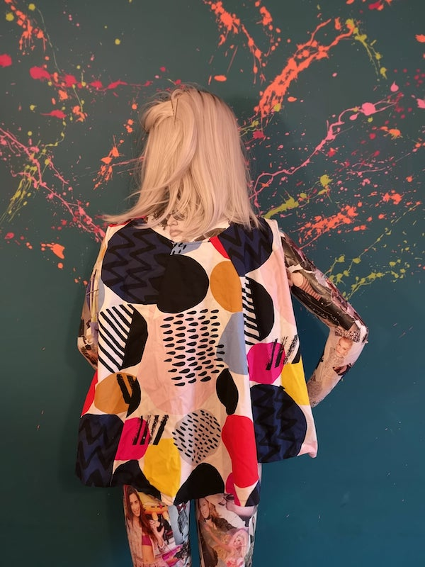 spot print cape back top