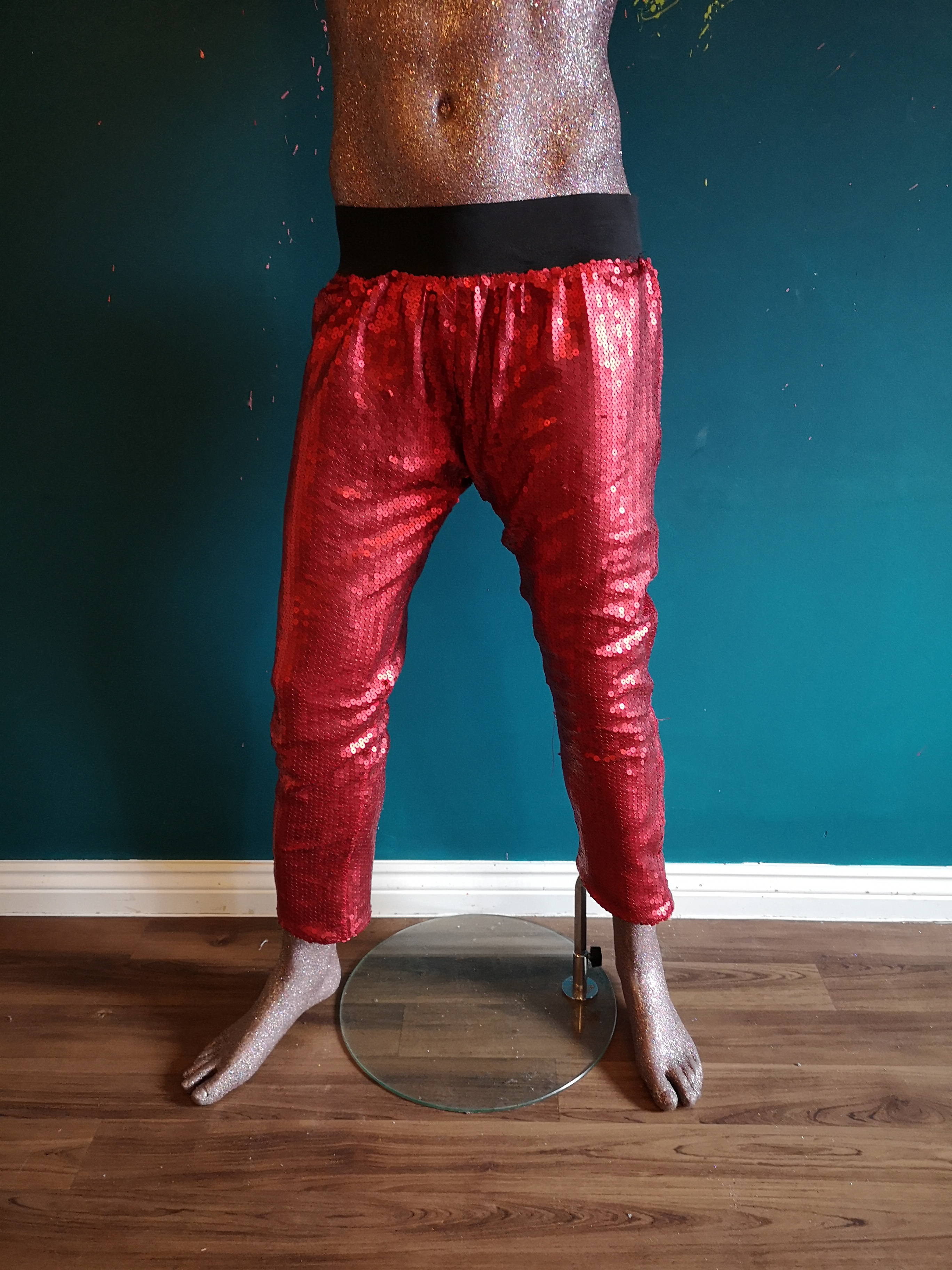 red sequin trousers