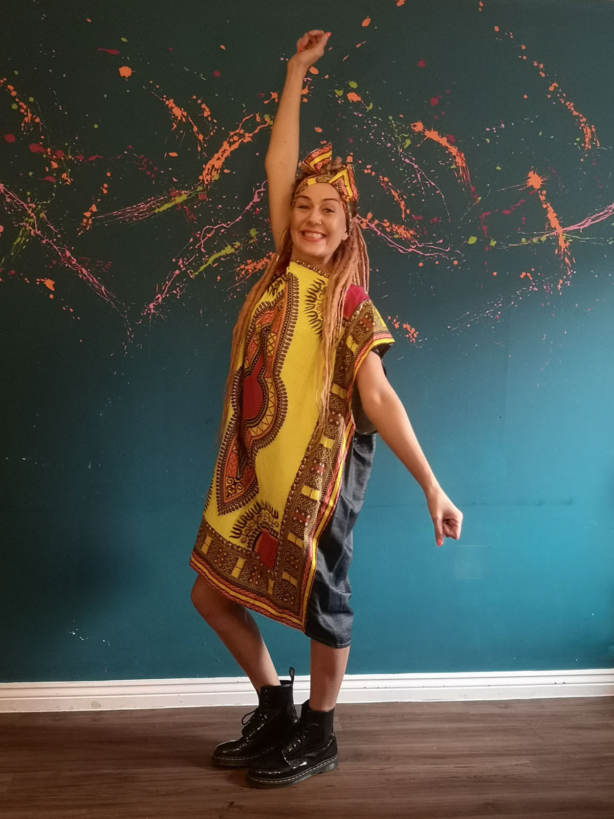 african print square dress