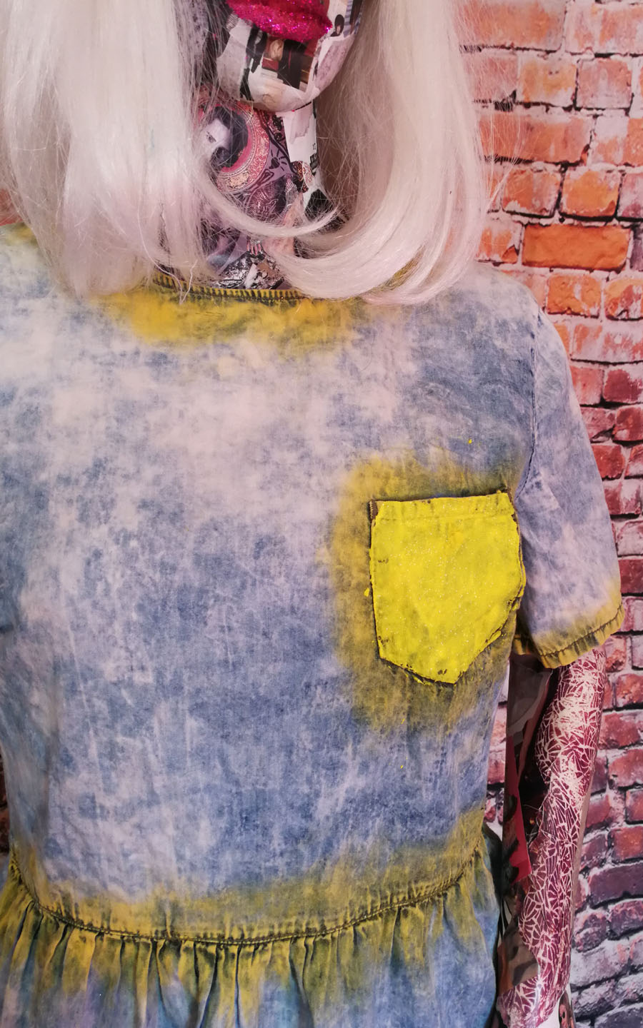 bleached and spray paint effect denim dress
