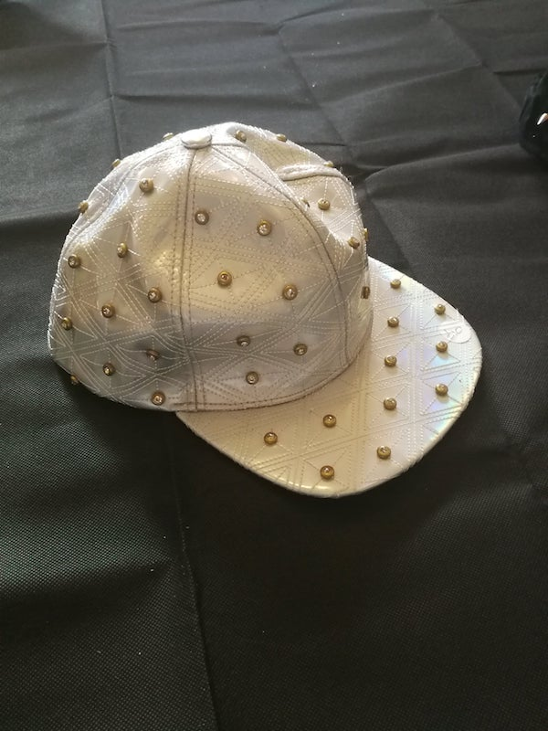 silver holographic snap back cap with diamante studs