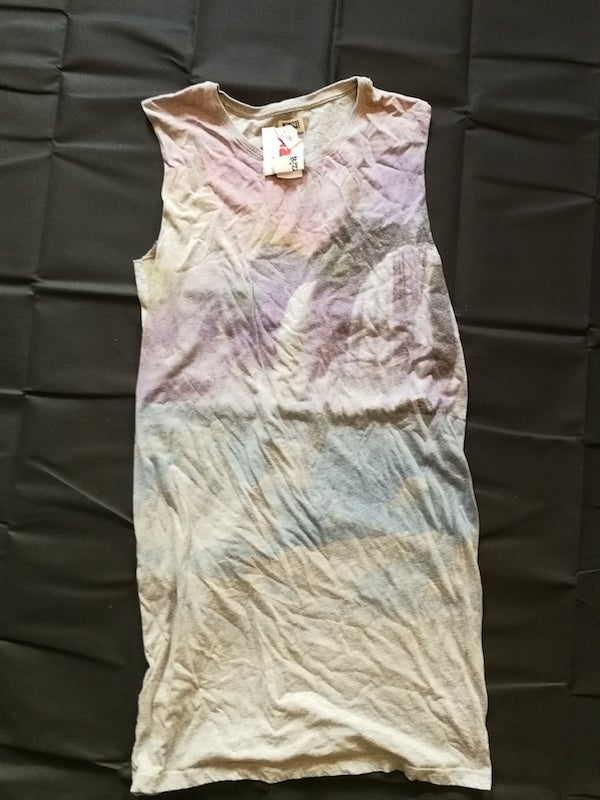 long grey vest with waterfall print