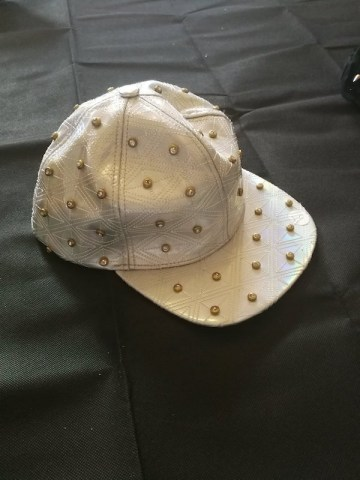 holographic snap back cap with diamonte studs
