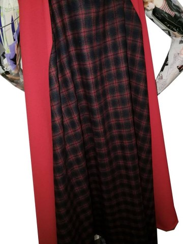 red tartan cape dress low arm hole sleeve 1