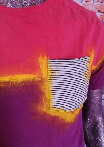 tshirt colour block pop paint pocket closeup
