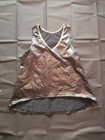 wet look vest top with khaki trim