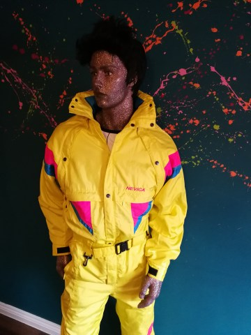 yellow pink neon vintage snow suit