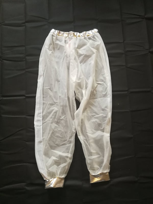 clear tracky bottoms with white mesh side panels