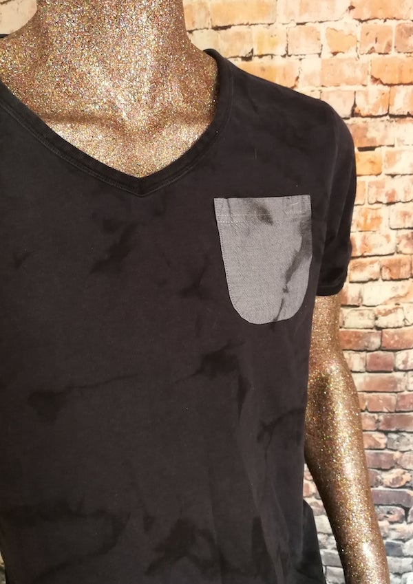 distressed v neck tshirt with pocket