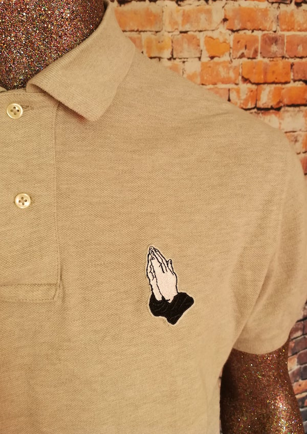 praying hands polo shirt